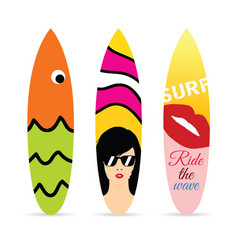 Surfboard set in various design color vector