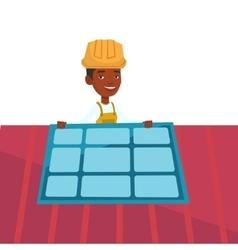Technician installing solar panel vector