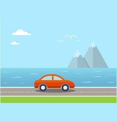 Travel with car and landscape vector
