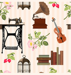 Vintage objects pattern vector