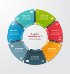 Pie chart infographic template 7 options vector
