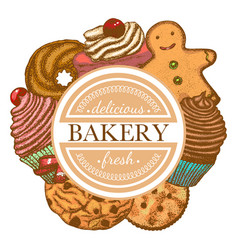 composition with different types of bakery vector image