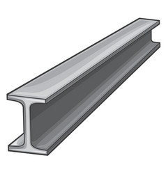 Metal rolled rail piece for construction works vector
