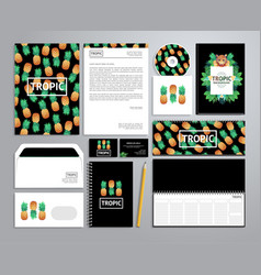 corporate identity templates in tropical style vector image