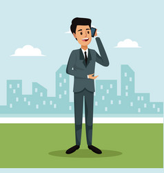 City landscape background with formal suit man vector