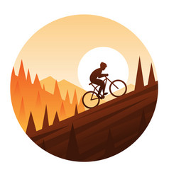 mountain bike climbing round icon vector image