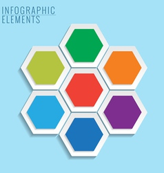 Infographic with honeycomb structure on the blue vector