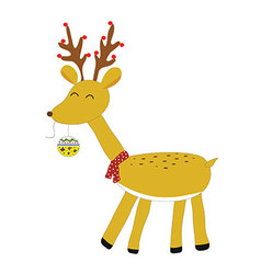 Yellow rendia put christmas ball in mouth isolated vector