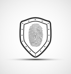 Icons metal shield with the fingerprint vector