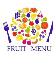 Fruit set for table menu vector