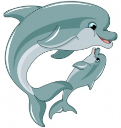 Dolphin mother and baby vector