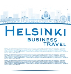 Outline helsinki skyline and copy space vector