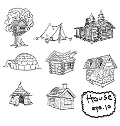 Set of house doodles vector
