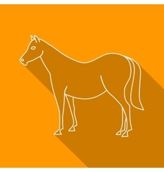 Icon contour horse flat style long shadows vector