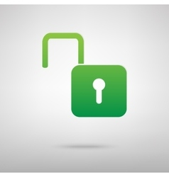 Unlock sign green icon vector