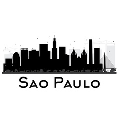 Sao paulo city skyline black and white silhouette vector