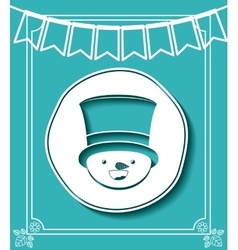 Merry christmas frame with snowman isolated icon vector