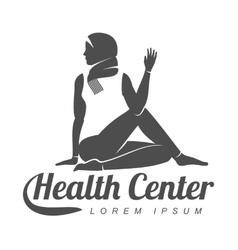 Aerobic logo with muslim woman vector