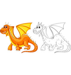 Animal outline for dragon with wings vector