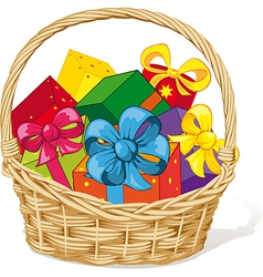 basket full of gifts vector image vector image