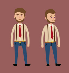 bearded male character in red tie vector image vector image