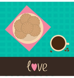 Biscuit cookie cracker on the plate and cup coffee vector