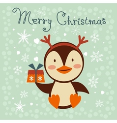Christmas card with cute little penguin vector image