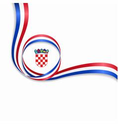 Croatian wavy flag background vector