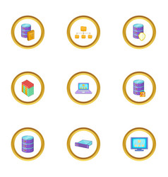 data transfer icons set cartoon style vector image