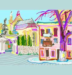 Digital painting of kamenetz-podolsky town vector