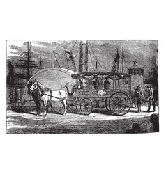 Fire carriage vintage vector