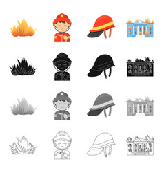 Fire firemen in uniform protective helmet vector