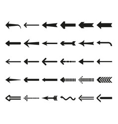 flat black arrows icon set vector image vector image