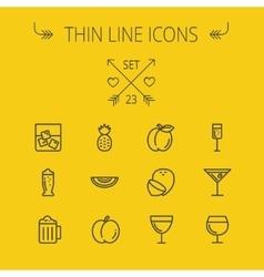 Food thin line icon set vector image