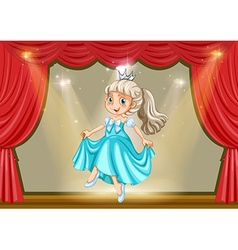 Girl in princess costume on stage vector image