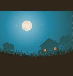 House in moonlight landscape vector