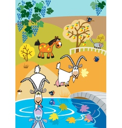 Landscape with goats vector
