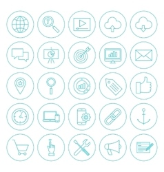 Line circle seo icons vector