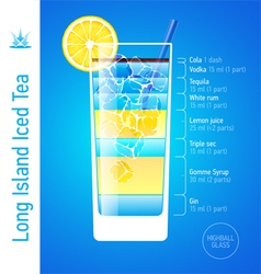 Long island iced tea cocktail vector