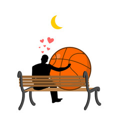 Lover basketball guy and ball sitting on bench vector