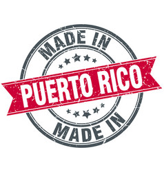 Made in puerto rico red round vintage stamp vector