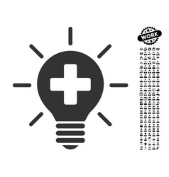 Medical lamp icon with work bonus vector