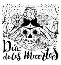 mexican zentangle dia de los muertos text day of vector image vector image