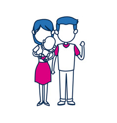 Mom and dad holding baby together family image vector