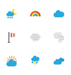 nature flat icons set collection of windy storm vector image