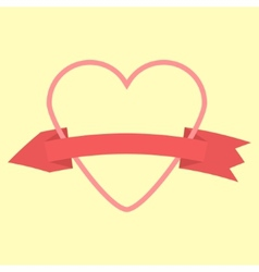 Outline heart and curved arrow-ribbon icon vector