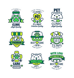 Pet clinic logo set high quality best care 1978 vector