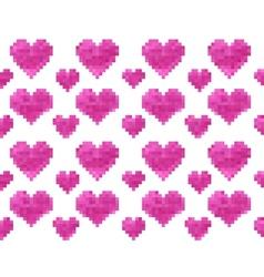 Pixel heart seamless pattern vector image vector image