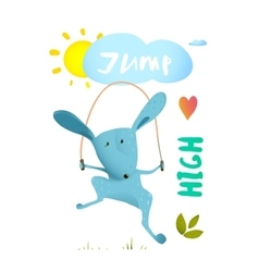 Rabbit jumping rope for kids vector