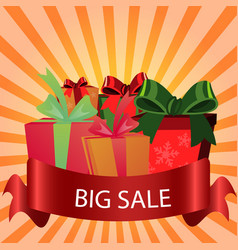 sale label background with gift box vector image